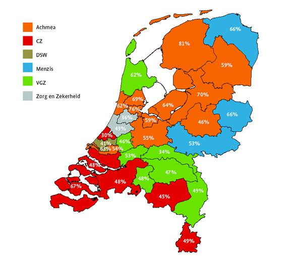 Verzekeraars met het grootste marktaandeel per regio in 2013