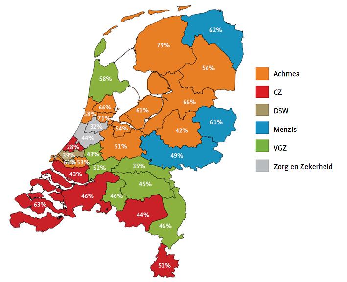 Verzekeraars met het grootste marktaandeel per regio 2014