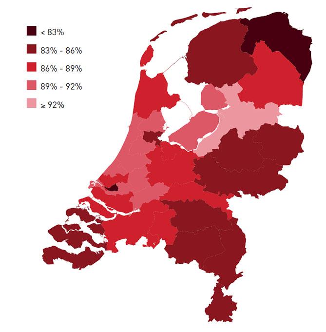 Aandeel multisource statines per regio 2015