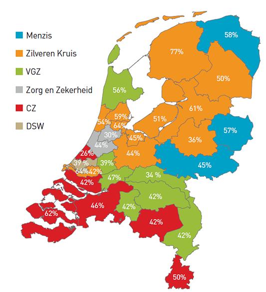 Verzekeraars met hoogste aantal verzekerden NL 2016