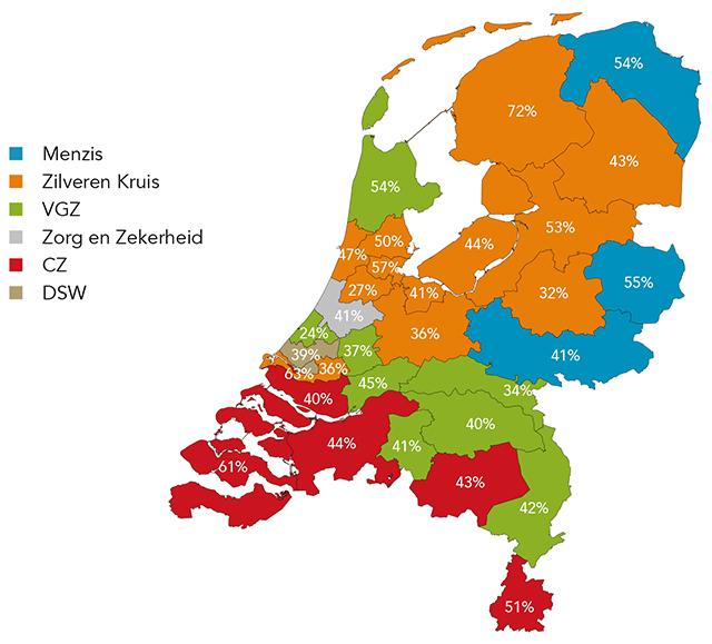 Spreiding zorgverzekeraars NL 2020