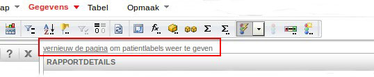 Patientlabels laden door pagina te verversen (via getoonde link, browser refresh).